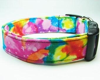 Bright Colorful Tie Dye Dog Collar