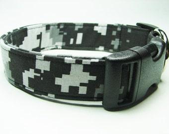 Black & Gray Urban Digital Camouflage Dog Collar