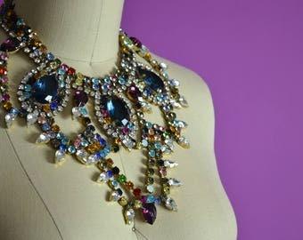 1950s Designer Bijoux M. B. Necklace Czech Glass Bib Necklace Multicolor Costume Jewelry