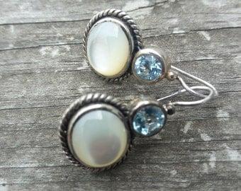 Sterling Silver Moonstone Blue Topaz Earrings