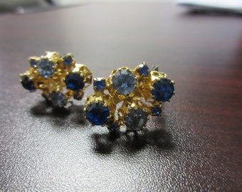 Blue Rhinestone Clip On Earrings Signed Austria