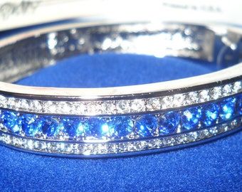 Jackie Kennedy Platinum Plated Bangle with Simulated Sapphires, Box and Certificate - Size 7.5