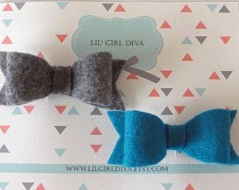 Set of 2 Felt Hairbow Clippies - Baby Girl Bows, Baby Shower Gifts