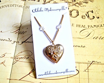 Vintage romantic heart locket pendant necklace - heart necklace, locket necklace, romantic necklace