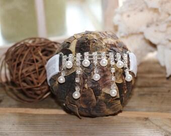 Dainty rhinestone and pearl Headband