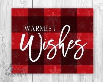 Warmest Wishes Buffalo Plaid Art Print, Red White Christmas Decor, Holiday Wall Art w Snowflakes, Holiday Home Decor, Mantle Art