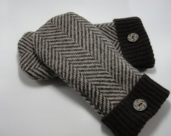 Recycled Brown and Tan Striped Wool Sweater Mittens with buttons