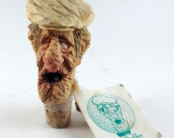 "Signed Chris Hammack Carved Wine Cork Bottle Stopper ""The Duffer"" - Spit N Whittle™-Original Hang Tag"