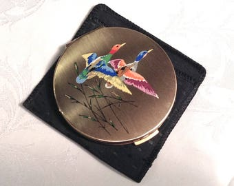 Stratton Vintage Compact/Stylised Flying Ducks/NWOT/Never Used/Original Box/Excellent Condition
