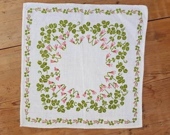 Lovely printed tablecloth with Linnea flowers in linen from Sweden