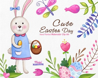 Easter Clip Art Watercolor, Easter Cute Bunny, Easter Basket, Eggs, Spring Flower leaves Butterfly, Hand Drawn Clipart, Baby Shower Elements