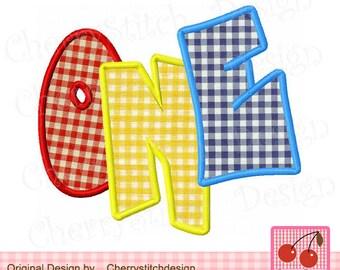 ONE Birthday Machine Embroidery Applique - 4x4 5x5 6x6 and 5x7 6x10 inch-Machine Embroidery Design