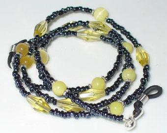 Necklace, bracelet, yellow, black, 73 cm (132)