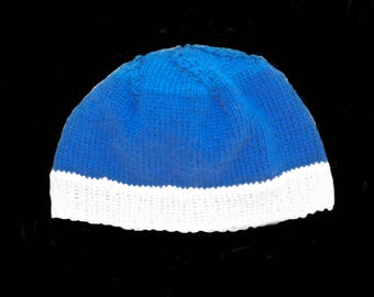 baby cap - knitted baby cap - blue - withe - hand knitted
