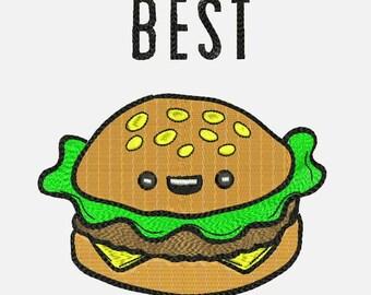 Best Friend Burger Machine Embroidery Designs - Best friend Applique Instant Download Filled Stitches Design 76Applique
