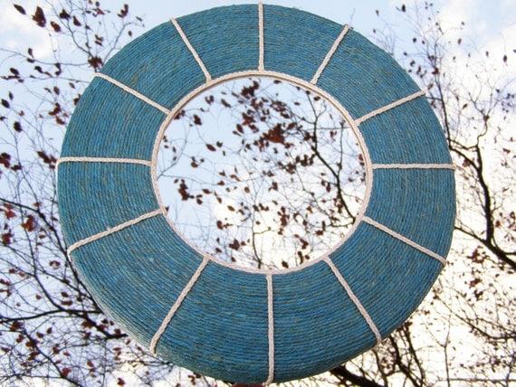Corda di canapa blu tondo specchio da parete con decorazione - Specchio tondo da parete ...