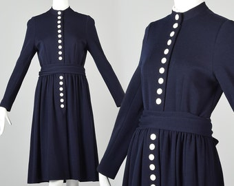 Medium Long Sleeve Winter Dress Kate Middleton Dress Navy Blue Fit and Flare Dress Norman Norell Vintage 1960s 60s Mod
