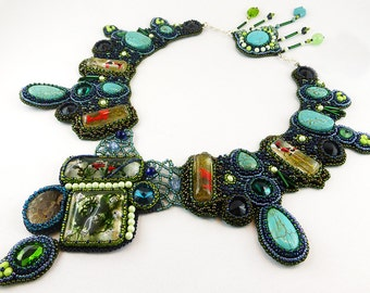 Necklace, Bead Embroidery, Resin