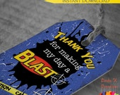 "Dart Tag ""Nerf Wars"" Inspired Thank You Tags 