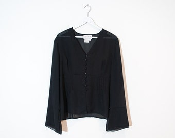 on sale - sheer black v-neck blouse / flared sleeve button-up top / size L / XL