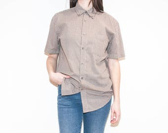 on sale - 90s 00s beige plaid button-down / unisex loose short sleeve shirt / size M / L
