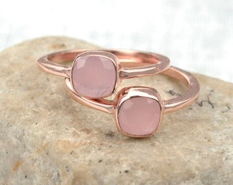 45% OFF Rose chalcedony single stone ring, 6mm cushion gemstone ring, Rose gold plated solitaire ring (CPRC-12008)