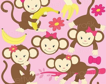 80% OFF SALE monkey clipart commercial use, vector graphics, digital clip art, digital images  - CL525