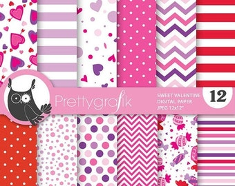 80% OFF SALE Valentine desserts digital paper, commercial use, valentine scrapbook papers, background papers, candy - PS691