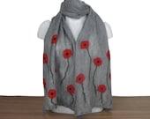 Grey poppy nuno felted scarf, wool on silk, longer length