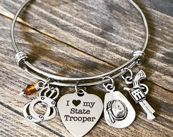 I Love My State Trooper Officer Charm Bangle Bracelet - Gifts for Her - Police Law Enforcement Department Wife Girlfriend Sister Mom Gift