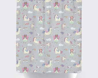 Unicorn Shower Curtain | Five Background Color Options | Grey | Standard  And Extra Long Size