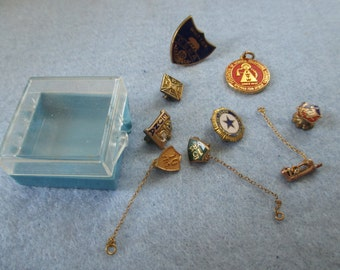 Lot of 9 lapel pins - various organizations - Estate find!  Possible Steampunk project!