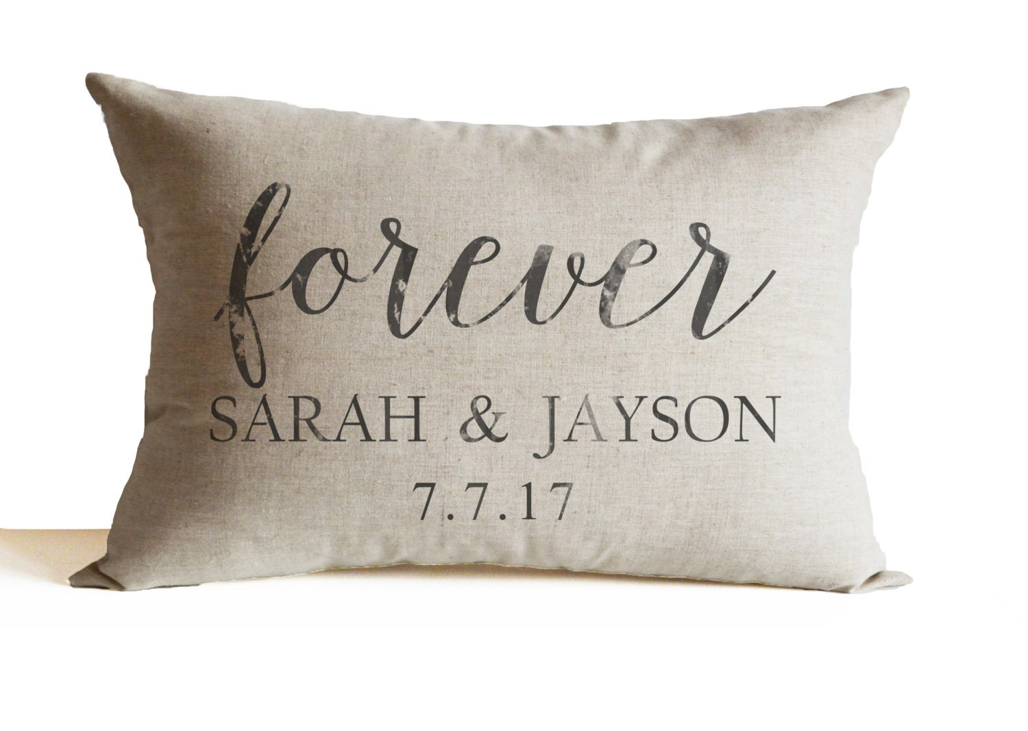 Linen Decorative Pillow Cover Personalized with Couple Name