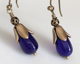 Cobalt Blue Glass Earrings   Bohemian Earrings  Glass Teardrop Earrings  Small Dangle Earrings   Boho  Brass Earrings  Gypsy Dangles