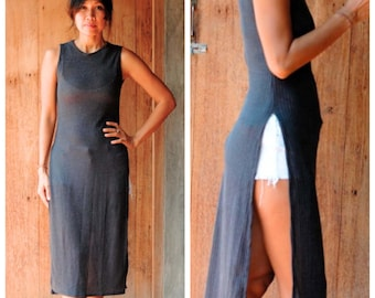 Gold or Black Comfy Casual High Cut Maxi Dress.