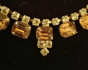 Vintage Fashion Amber Colored Choker Necklace (st - 1816)