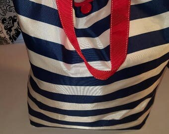 Large Tote Bag-Red/White/Blue Tote-Beach Bag