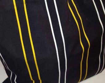 Large Tote Bag-Blk/Yellow/Wht Bag- Large Stripe Bag-Black Tote