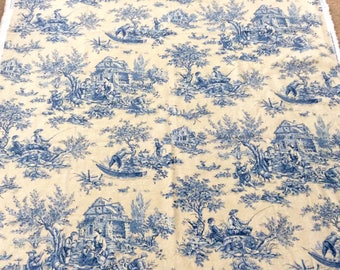 Blue Toile Fabric on Cream Background by Portfolio Textiles