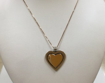 Vintage Kalbe 18K Gold And Sterling Silver Two Tone Heart Pendant!!!