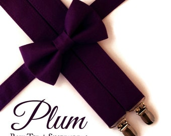 Plum Bow Tie and Suspenders:  Purple Suspenders, Toddler Suspenders, Boys Suspenders, Purple Bow Tie, Midnight, Plum, Ring Bearer
