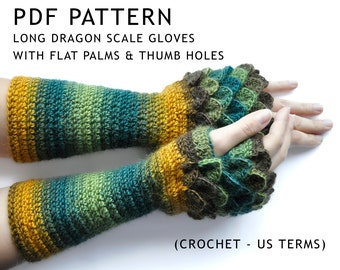 PATTERN ONLY Long Dragon Scale Gloves (with thumb holes and flat palms) Crochet Pattern written in US terms