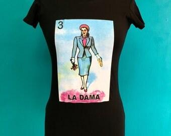 LA DAMA Loteria silk screen graphic womens tee
