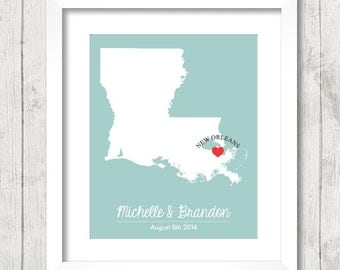 8x10 Louisiana Love Map - New Orleans, Louisiana - State Map - Paper Anniversary - Nola - Big Easy - Wedding, or Engagement - Newlyweds