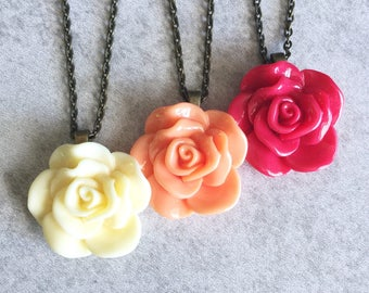 Buttercream · Coral · Rose Red // Rose Charm Necklaces - Antique Bronze/Silver Chain, 30mm Resin Cabochon, Ivory, Cherry, Bridesmaid Jewelry