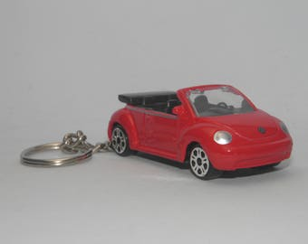 """Volkswagen New Beetle Cabriolet Free Shipping Birthday and anniversary gift Keychain 3"""" Collectible Metal Diecast Scale Model Sport Car."""