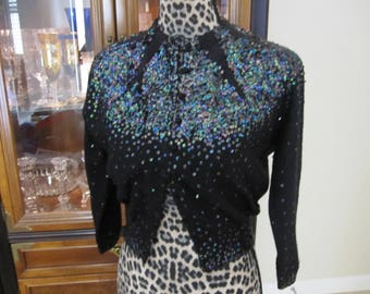 STUNNING CASHMERE IRRIDESCENT Beaded Vintage Sweater Size Small