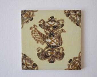 Rare! Aluminia / Royal Copenhagen - tile / plaque - bird motif - Nils Thorsson - Danish midcentury pottery
