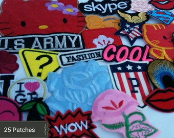 25 Cute patch lot. Iron on patches, sew on patches, appliques Random selection HUGE  patch lot