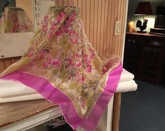 Vintage/Mid-Century Fushia Pink Flowery Silk Scarf
